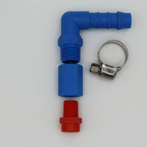 elbow style hose barb nozzle assembly
