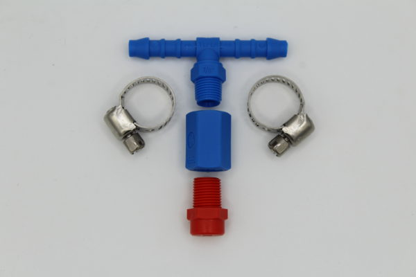 hose barb tee style nozzle assembly